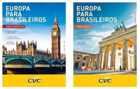 """Capa de dois cadernos dos programas """"Europa para Brasileiros"""" (foto divulgação)"""