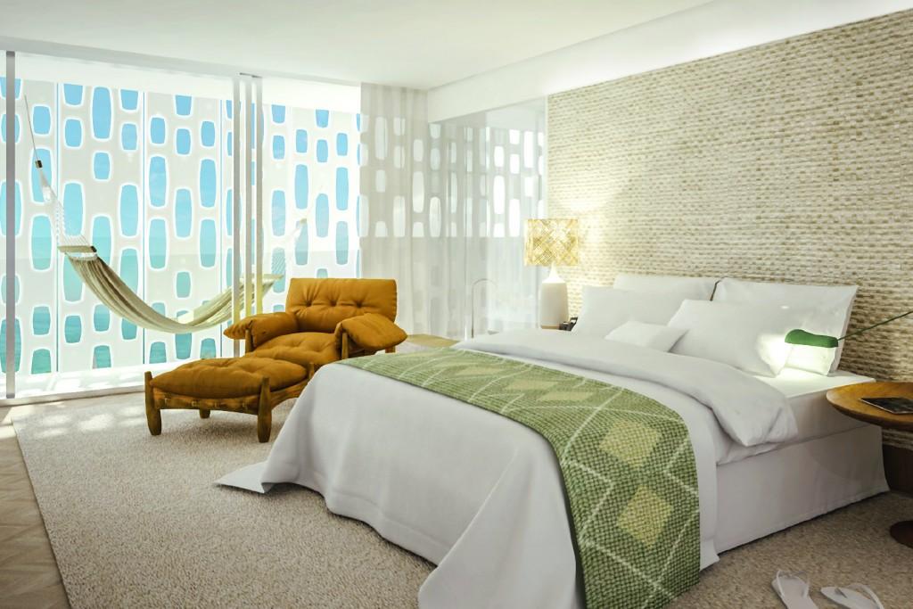 Um dos 90 apartamentos do hotel