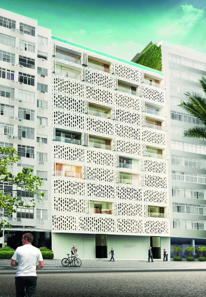A fachada do edifício do Hotel Emiliano Rio de Janeiro, em Copacabana (imagens divulgação/Hotel Emiliano)