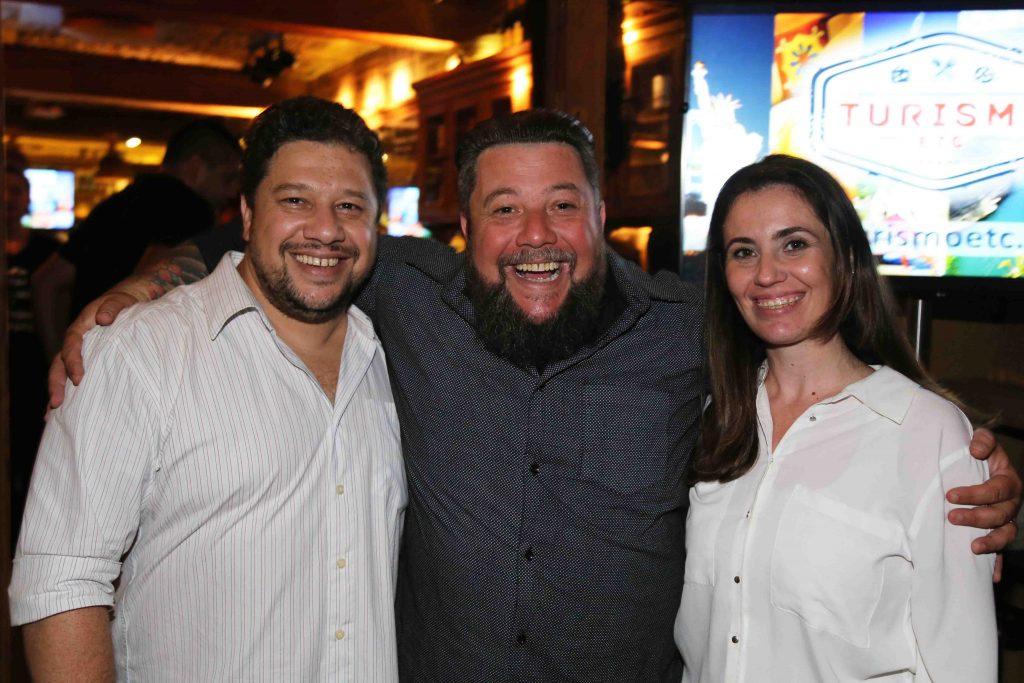 Palumbo com o irmão, Marcelo, e a cunhada, Alessandra, ambos da Taruferia San Paolo