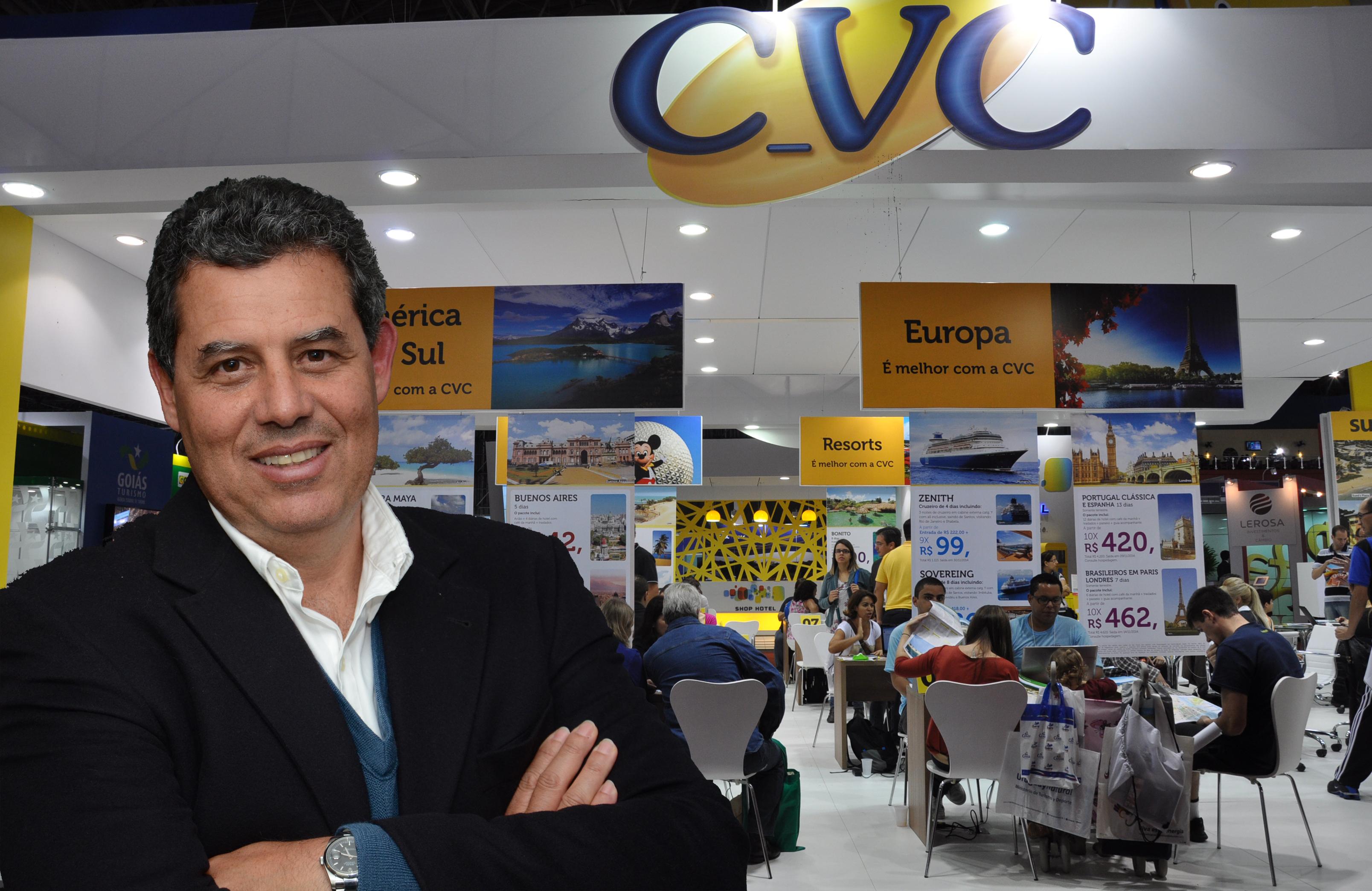 O presidente da CVC, Luiz Eduardo Falco durante feira de produtos turístico em São Paulo (2014)